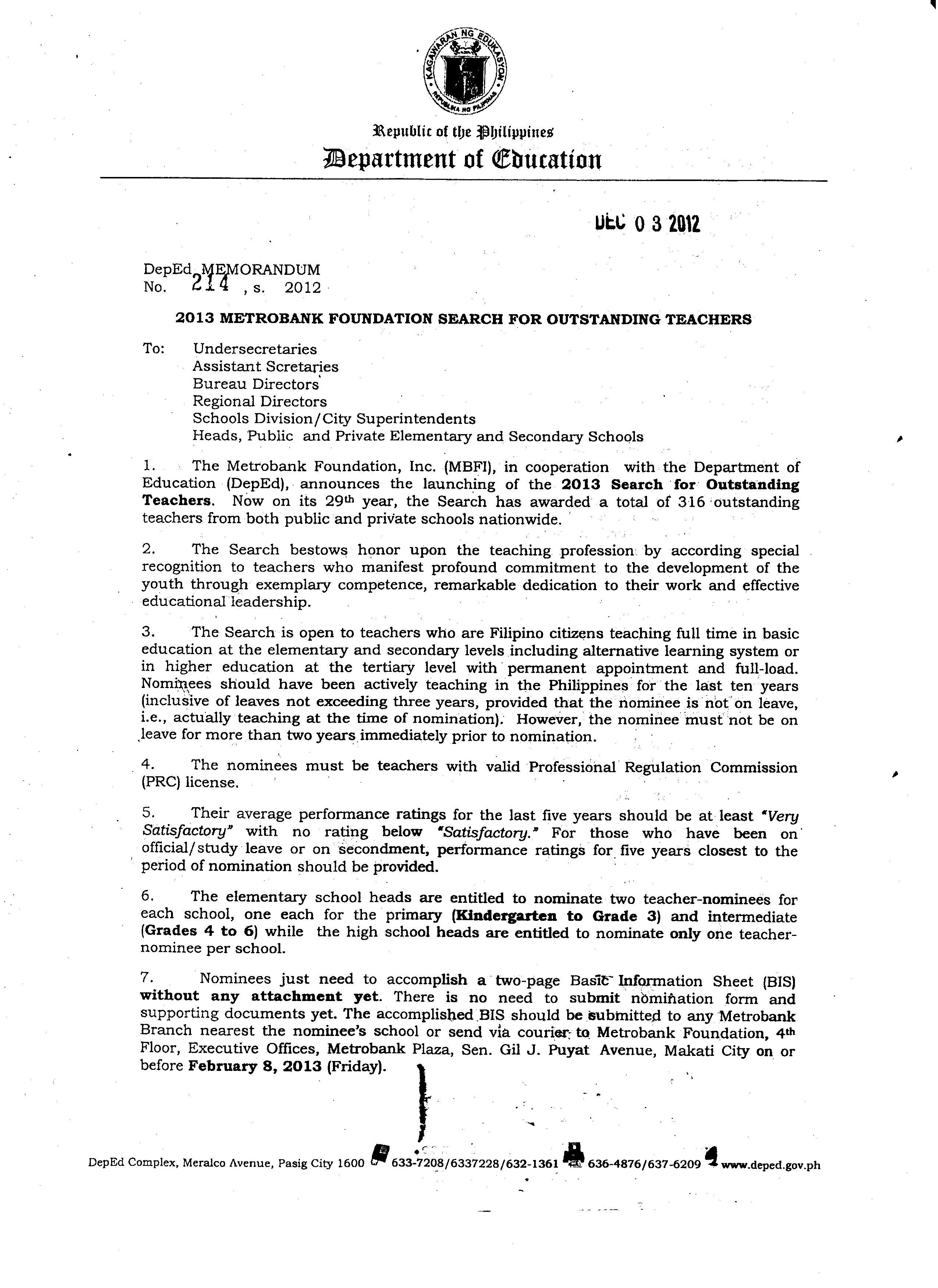 DepEd Memo Memorandum 2014