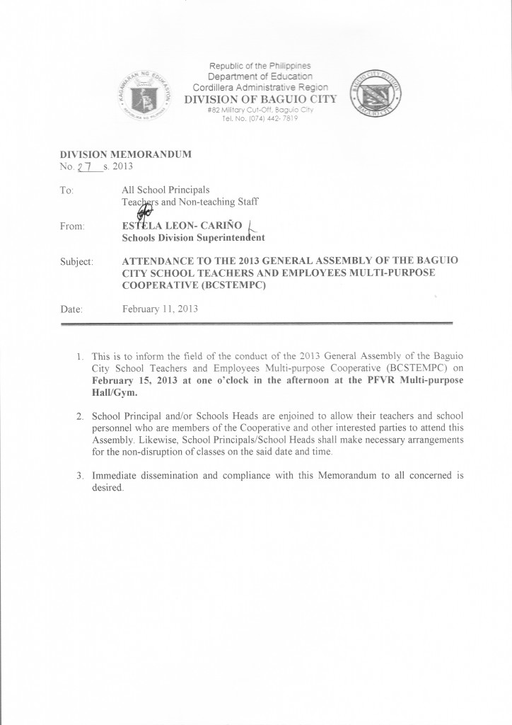 Attendance To The 2013 General Assembly Of The Baguio City