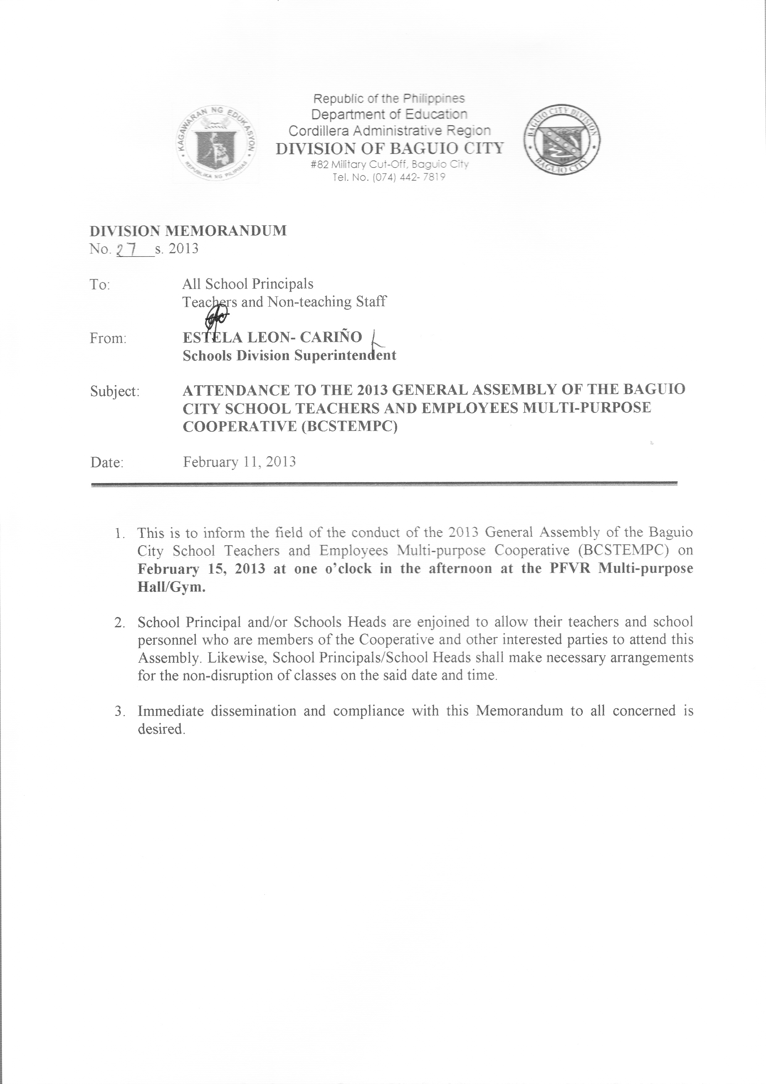 ATTENDANCE TO THE 2013 GENERAL ASSEMBLY OF THE BAGUIO CITY ...