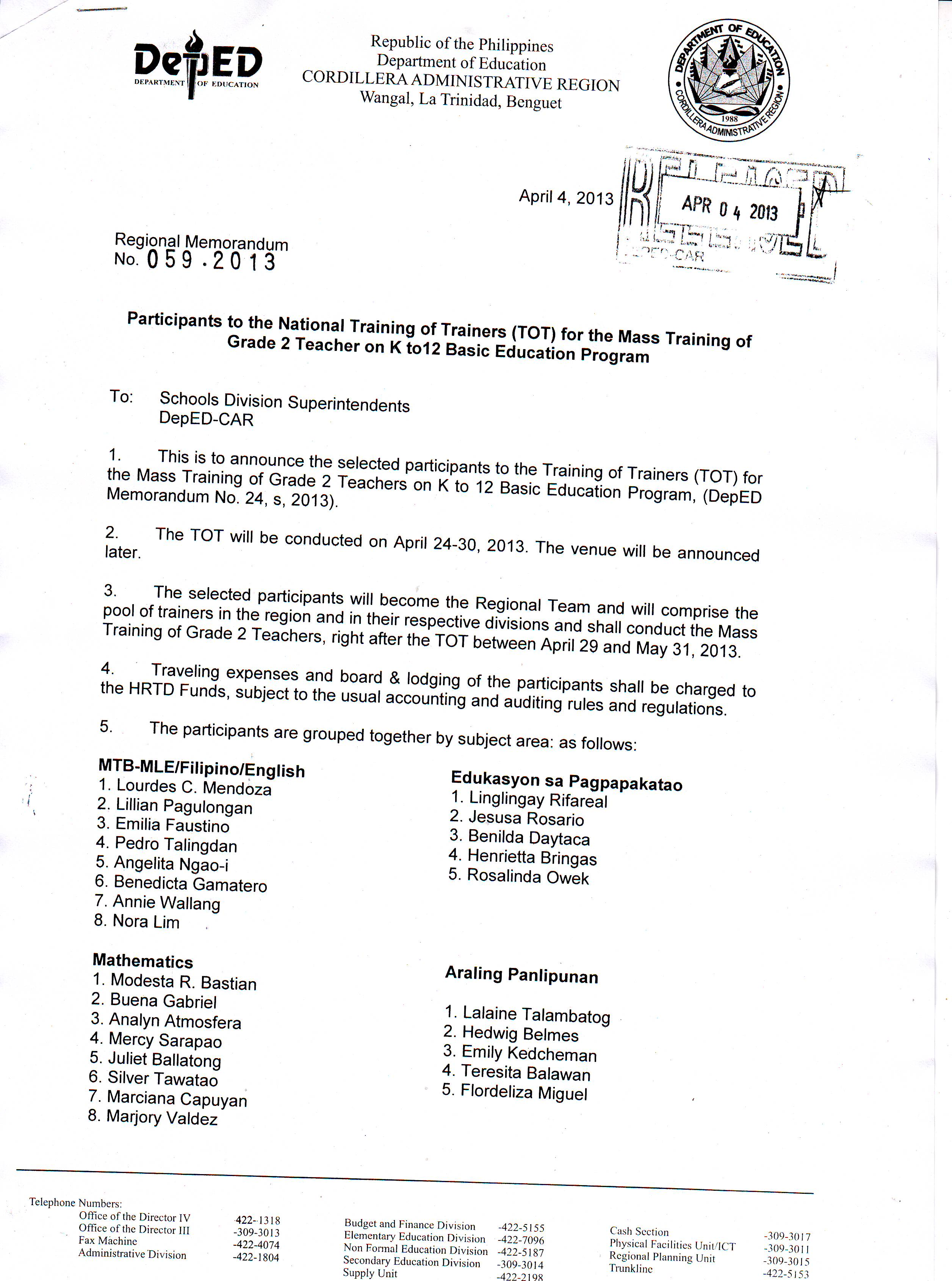 Regional Memo No. 59 s, 2013 Participants to the National Training