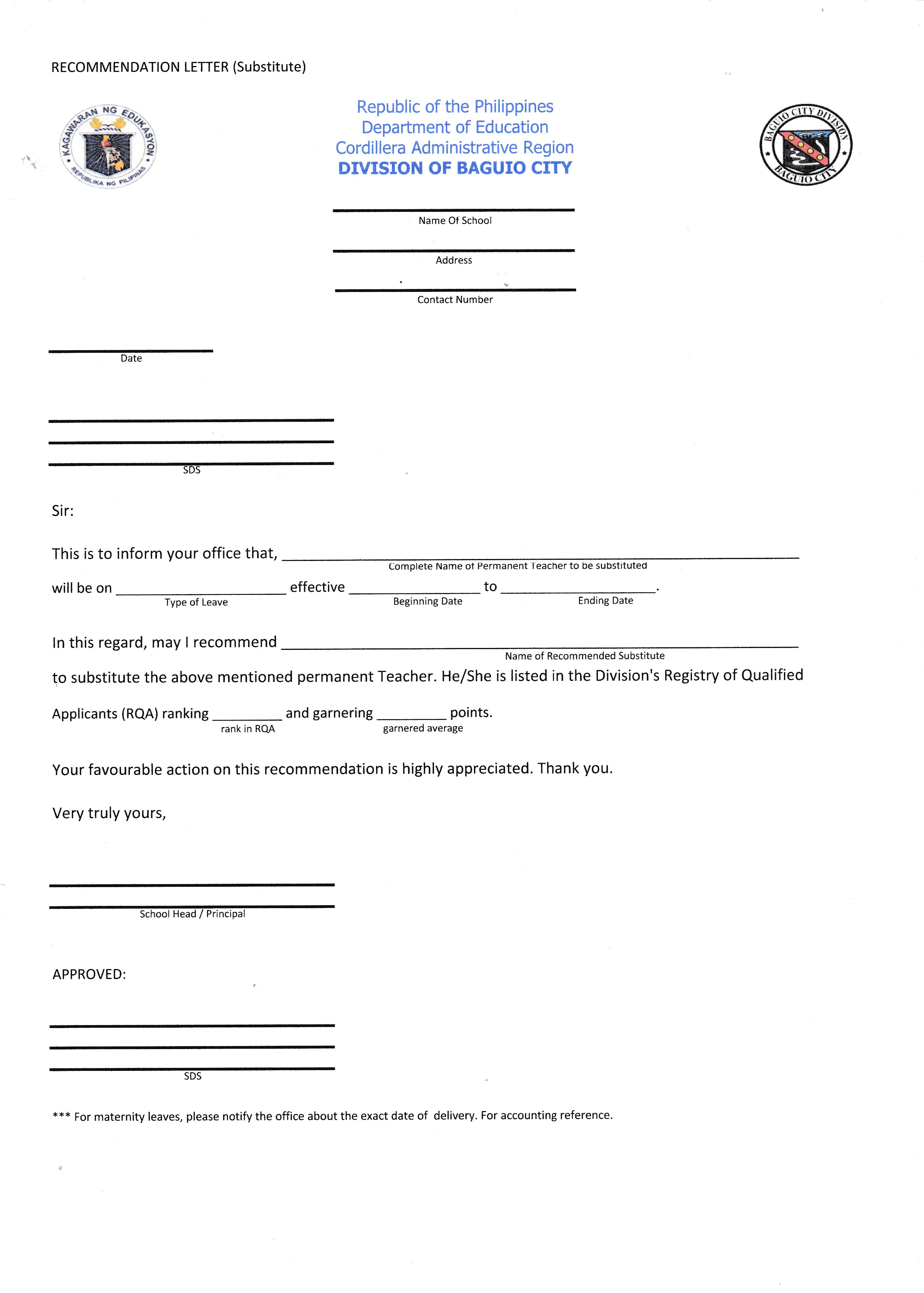 recommendation letter template  for substitute   u2014 deped